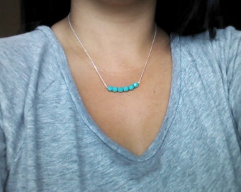 Teal Bar  Silver Necklace