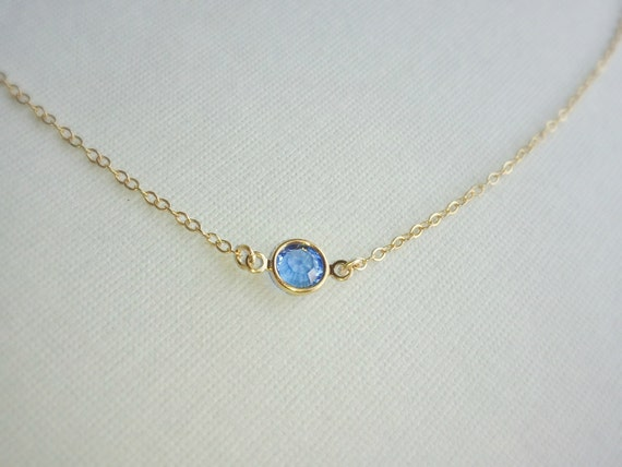 Sale Tiny Gold  Sapphire Crystal Necklace