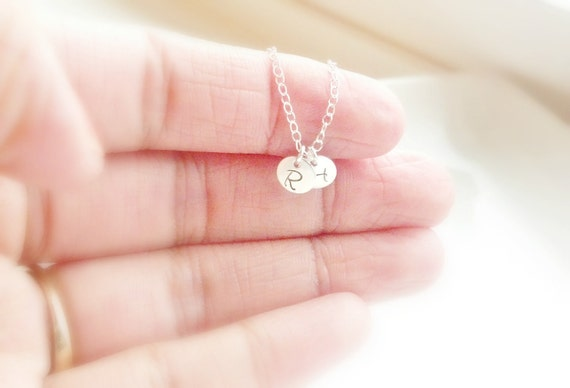 Two Initial Disc Necklace, Sterling Silver Or Gold Filled Necklace, Personalized necklace, Gift For Mom, Birthday Gift, Custom Necklace