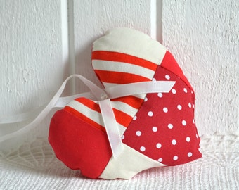 Cottage fabric heart,  padded ornament , red white patchwork , Christmas ornament