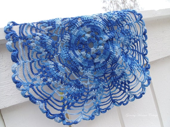 Crocheted doily or tablecloth vintage Swedish handmade blue tablecloth