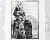 """Australian shepherd dog  Art  -  8"""" x 6"""" embossed paper"""