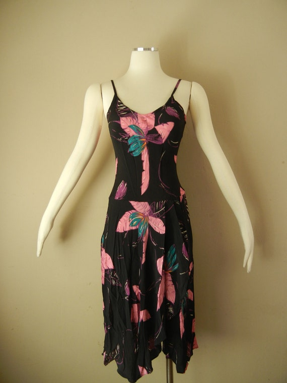 Vintage 70s Black Tropical Print Disco Dress