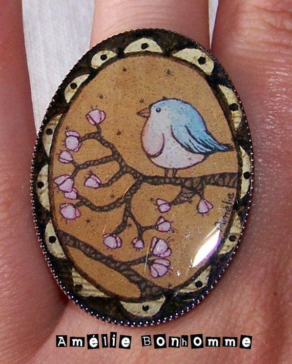 Printemps - Big Copper ring with bird's picture and resin - Bague en laiton cuivré avec oiseau et résine