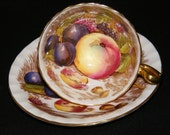 Aynsley Teacup and Saucer Orchard pink artist signed D Jones circa 1930s
