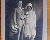 Vintage Photograph of Bride and Groom - 1920s Flapper Girl Fashion