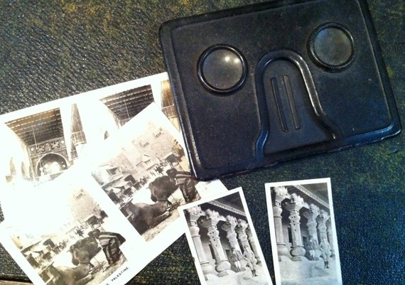 Vintage Cavander Stereoscopic Viewer with some original photograph cards (1920s)