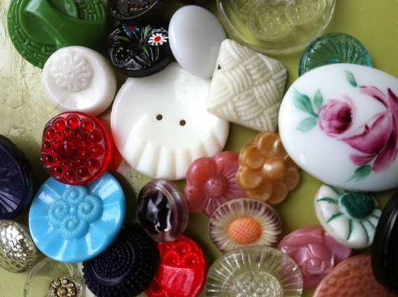 SALE - 30 Vintage Glass Buttons Instant Collection - Every Single One Is Different