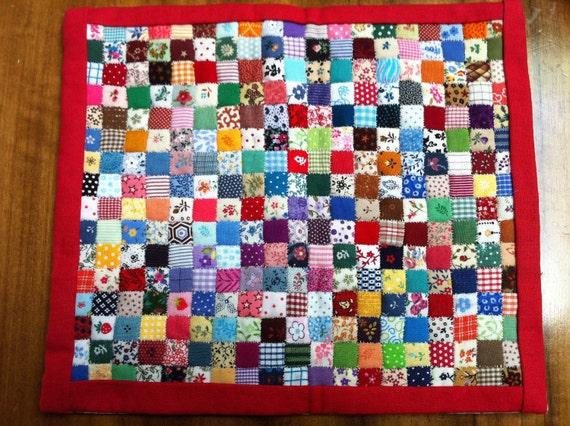 Hand Made Miniature Doll Quilt For Hitty Doll. A Colourful One-Patch Patchwork.