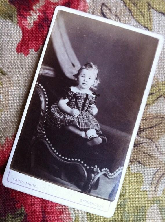 Victorian Carte de Visite - Little Girl in a Tartan dress (CDV)
