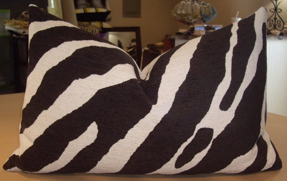 "One Large Lee Jofa Black White ""ZAMBEZI"" Italian Zebra Chenille Custom Down Bolster Pillow - 16"" by 25"" - Only One Available"