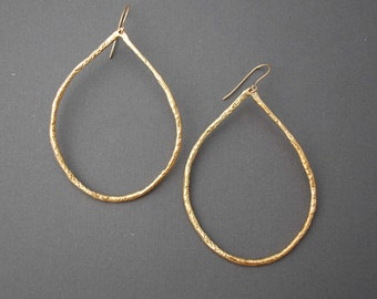 Large Gold Teardrop Hoop Earrings also in Silver