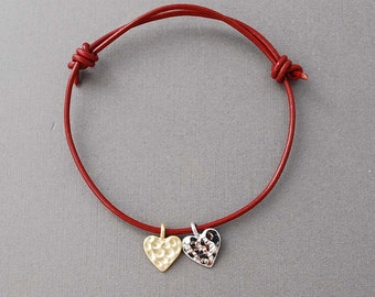 Heart Adjustable Leather Bracelet Gold or Silver