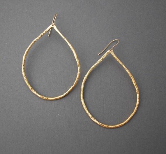 Large Gold Teardrop Hoop Earrings also in Silver