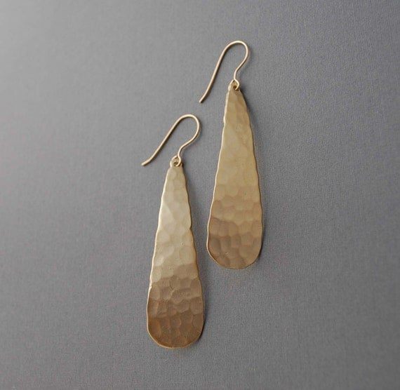 Long Hammered Gold Drop Earrings