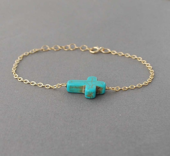 Turquoise Sideways Cross Bracelet Horizontal gold, rose gold, or silver