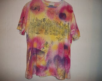 Hand-dyed tee shirt with birdhouse view