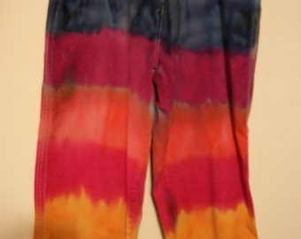 Hand-dyed rainbow-colored capri pants, size 10