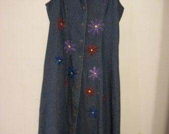 Hand-painted denim jumper, size 10