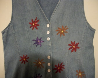 Hand-painted denim jumper, size 14