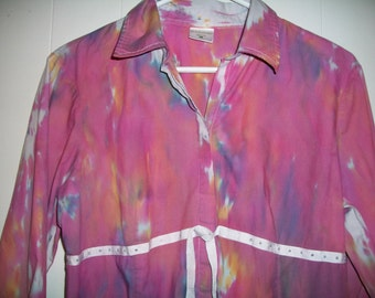 Hand-dyed long sleeved maternity top, size L