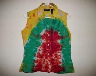 Tiedye sleeveless blouse