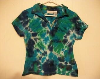 Tiedye tee shirt with collar