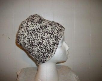 Cranberry and Cream Crochet Hat