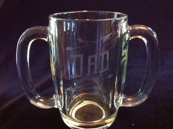 Vintage Glass DAD Double Handle Mug