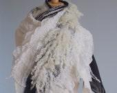 Wool felted scarf  - Handmade wool and silk - Natural fleece