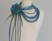 Hand felted neck cords and brooch - Handmade wool