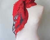 Handmade Nuno Felting Scarf - Hand Felted Wool and Silk - Hand Dyed Silk