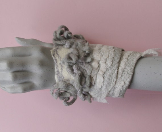 """Wool felted arm bracelet """"Frost smell"""" - Handmade wool and silk"""