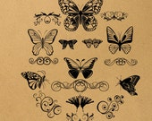 Butterfly Digital Image Download Sheet Transfer To Pillows T-Shirt Towels Burlap Bag, Item A0661