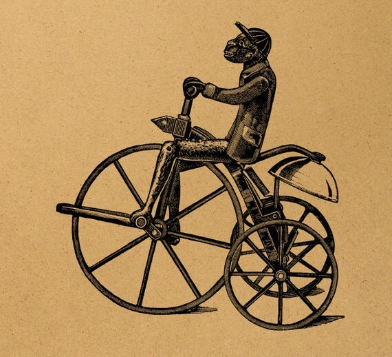 Monkey on a bicycle Digital Image Download Sheet Transfer To Pillows T-Shirt Towels Burlap Bag or Print on paper, etc. Item A0648
