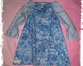 Girls Blue Vintage Winter Peasant Style Dress Size 2
