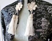 Vintage Japanese Brocade Art Deco Jacket - Silver and Black