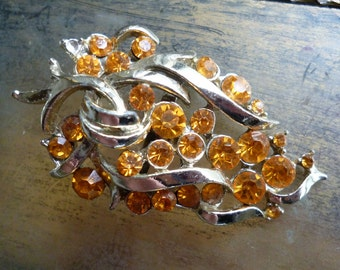 Vintage Amber Rhinestone Brooch - Scatter Pin
