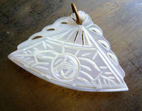 Moving Sale 50% Off Vintage Mother of Pearl Fan Pendant - MOP Flower Rose Pendant - Carved Mother of Pearl
