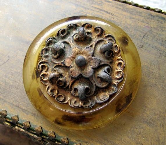 Moving Sale 50% Off Antique Vintage Bakelite Brass Button - Large Tortoise Bakelite Button