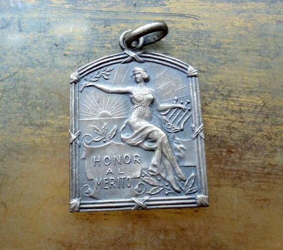 Vintage Art Nouveau Music Muse Medal - Goddess with Lute Harp Pendant Medal