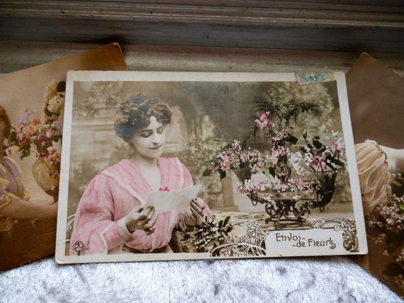 Moving Sale 50% Off Antique Victorian French Postcards French Ladies Ephemera Lot