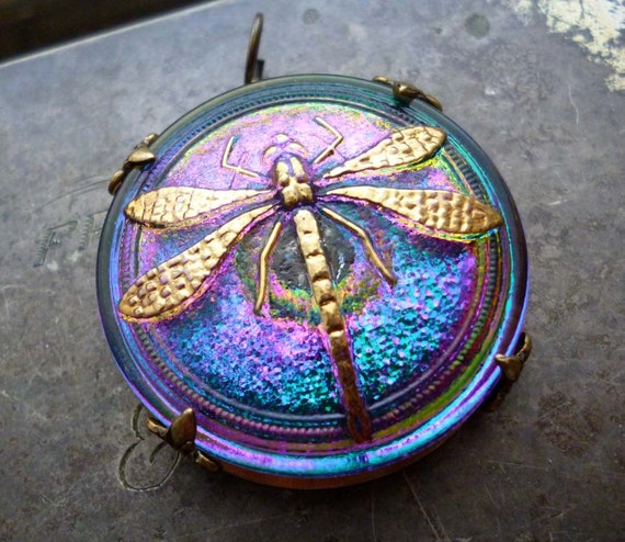 Art Nouveau Dragonfly  - Glass Pendant - Blue Purple Green Glass & Brass Pendant