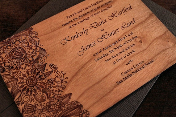wood wedding invitations items similar to engraved wood wedding invitations fleur 1480