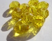 Light Topaz (Yellow) Chinese Crystal Rondelles, 10 Count