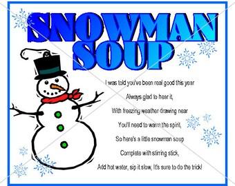 Printable Christmas Snowman Soup Tag Label