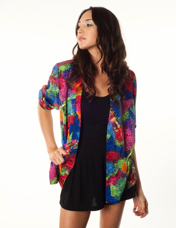 Vintage Multicolored Blouse. Bright Colored Open Front Blouse.Size Medium FREE SHIPPING (DOMESTIC U.S)