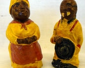 Salt and Pepper Shakers - Black Americana - Aunt Jemima Uncle Mose Chalkware Salt and Pepper Shakers