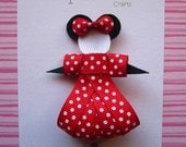 Minnie Mouse hair clip bow ribbon sculpture inspired. Red