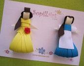 Disney Princess Belle inspired ribbon hair clip ......Special Edition